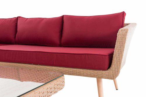 Eck-Loungeset Skara Flachrattan rubinrot 45 cm (Hellbraun)