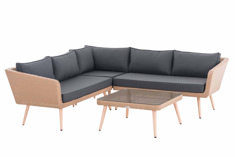 Eck-Loungeset Skara Flachrattan eisengrau 45 cm (Hellbraun)