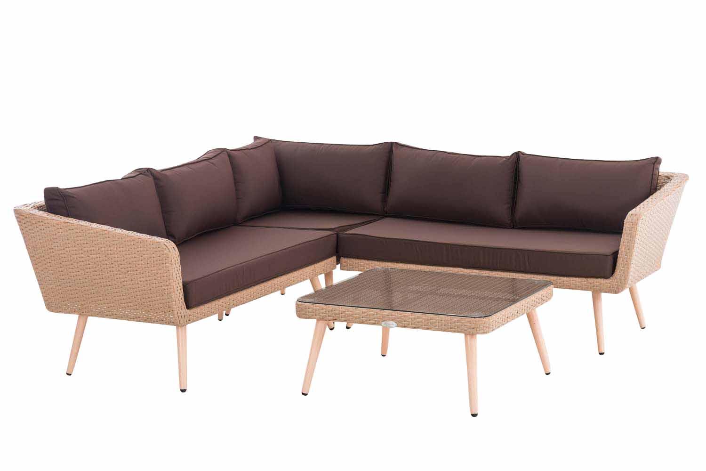 Eck-Loungeset Skara Flachrattan terrabraun 45 cm (Hellbraun)