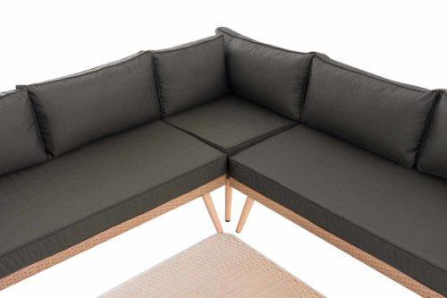 Eck-Loungeset Skara Flachrattan anthrazit 45 cm (Hellbraun)