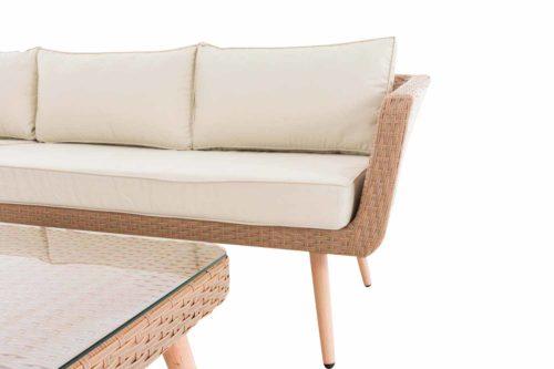 Eck-Loungeset Skara Flachrattan cremeweiß 45 cm (Hellbraun)