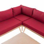 Eck-Loungeset Skara Flachrattan rubinrot 40 cm (Hellbraun)