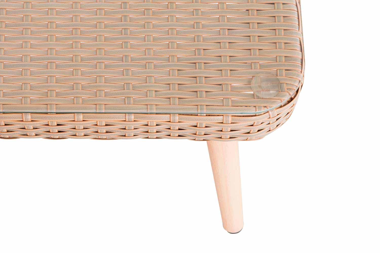 Eck-Loungeset Skara Flachrattan cremeweiß 40 cm (Hellbraun)