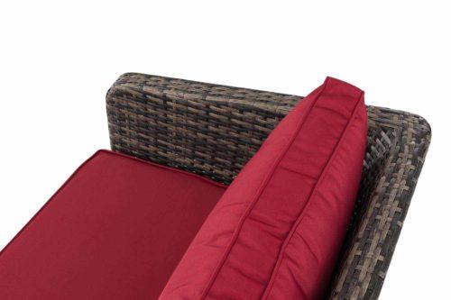 Eck-Loungeset Skara Flachrattan rubinrot 45 cm (Dunkelgrau)