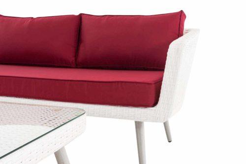 Eck-Loungeset Skara Flachrattan rubinrot 45 cm (Hellgrau)