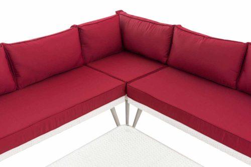 Eck-Loungeset Skara Flachrattan rubinrot 40 cm (Hellgrau)