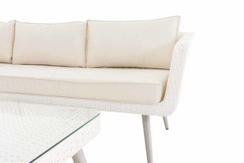Eck-Loungeset Skara Flachrattan cremeweiß 40 cm (Hellgrau)