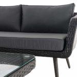 Eck-Loungeset Skara Flachrattan eisengrau 45 cm (Dunkelgrau)