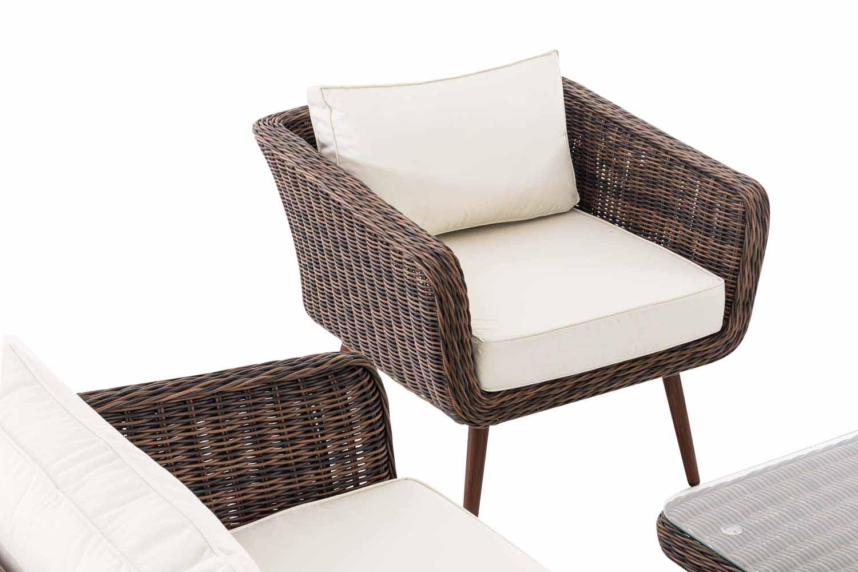 Loungeset Skara Rundrattan cremeweiß 40 cm (Dunkelbraun)