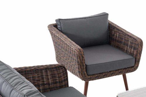 Loungeset Skara Rundrattan eisengrau 45 cm (Dunkelbraun)