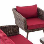 Loungeset Skara Rundrattan rubinrot 45 cm (Dunkelbraun)