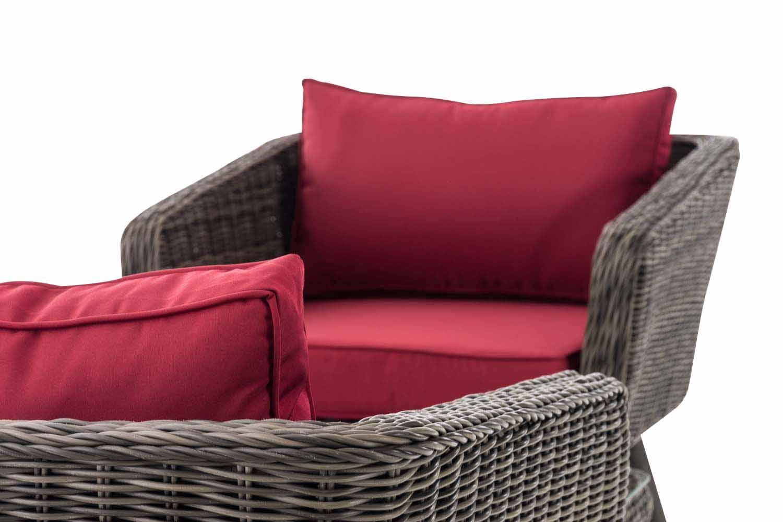 Loungeset Skara Rundrattan rubinrot 40 cm (Dunkelgrau)