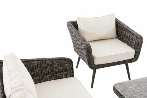 Loungeset Skara Rundrattan cremeweiß 45 cm (Dunkelgrau)