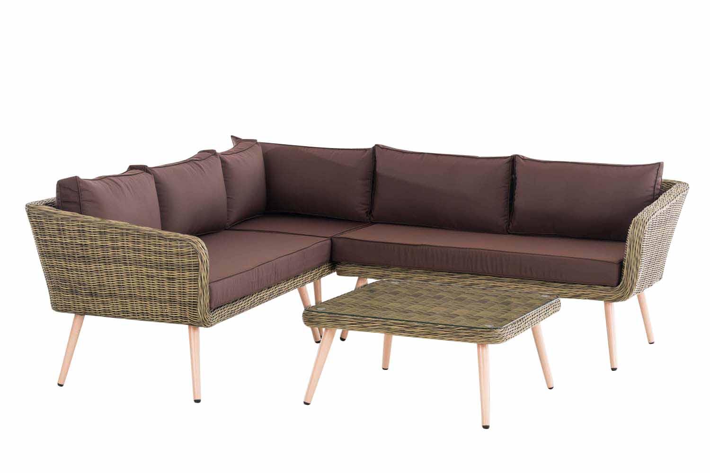 Eck-Loungeset Skara Rundrattan  terrabraun 40 cm (Hellbraun)