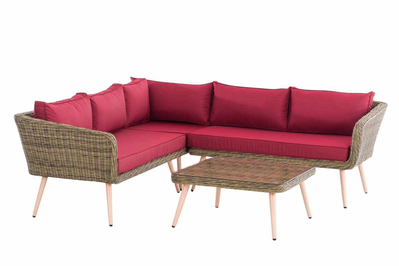 Eck-Loungeset Skara Rundrattan  rubinrot 45 cm (Hellbraun)