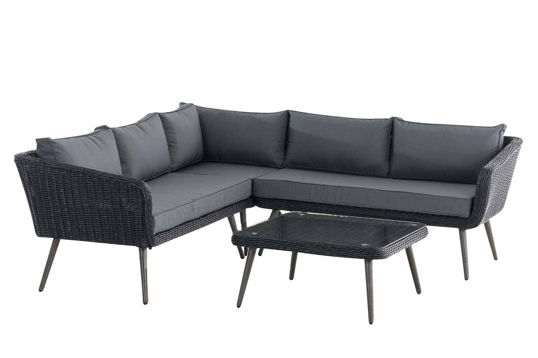 Eck-Loungeset Skara Rundrattan eisengrau 45 cm (Dunkelgrau)