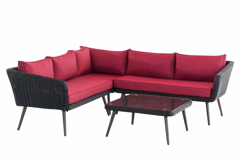 Eck-Loungeset Skara Rundrattan rubinrot 45 cm (Dunkelgrau)